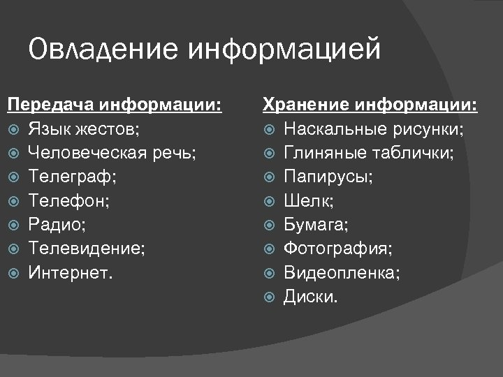 Овладение информацией Передача информации: Язык жестов; Человеческая речь; Телеграф; Телефон; Радио; Телевидение; Интернет. Хранение
