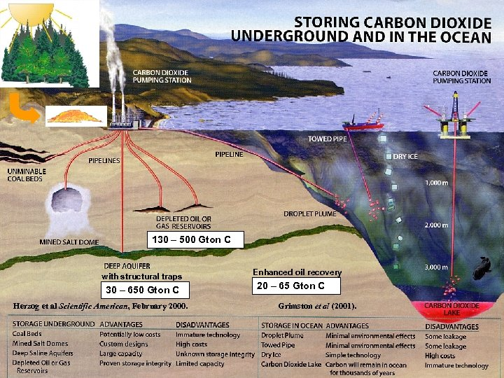 Carbon storage possibilities 130 – 500 Gton C with structural traps 30 – 650