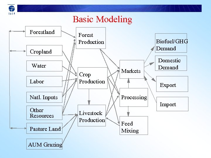 Basic Modeling Forestland Forest Production Biofuel/GHG Demand Cropland Water Labor Crop Production Natl. Inputs