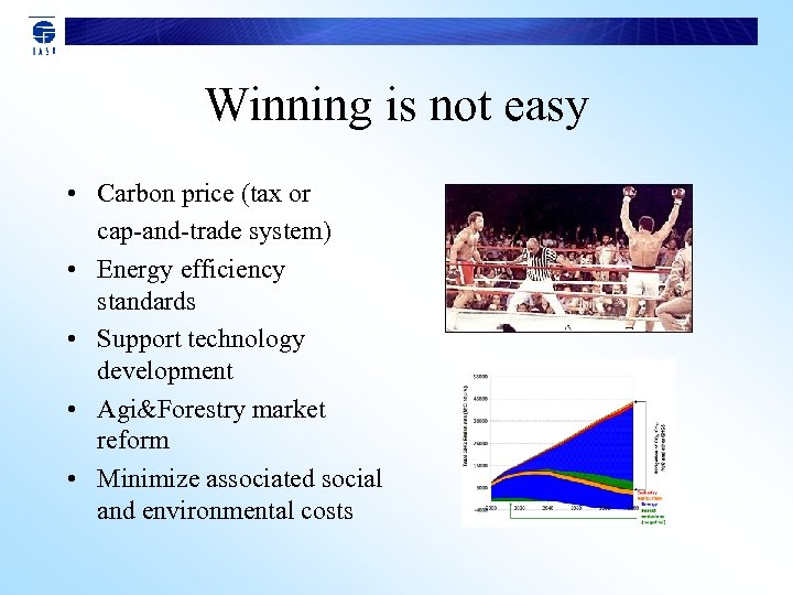 Winning is not easy • Carbon price (tax or cap-and-trade system) • Energy efficiency