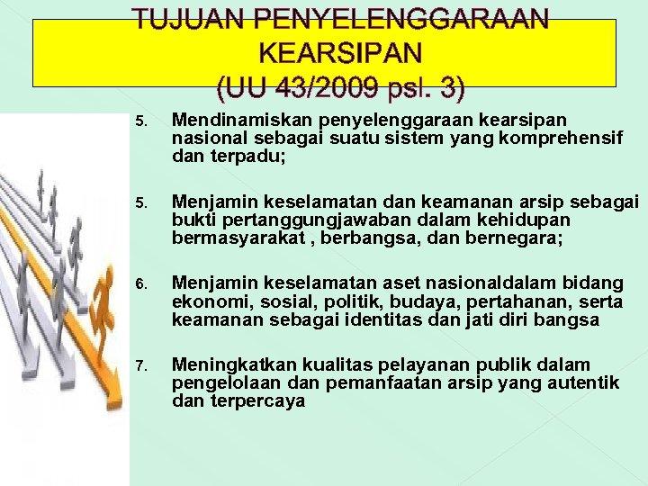 TUJUAN PENYELENGGARAAN KEARSIPAN (UU 43/2009 psl. 3) 5. Mendinamiskan penyelenggaraan kearsipan nasional sebagai suatu