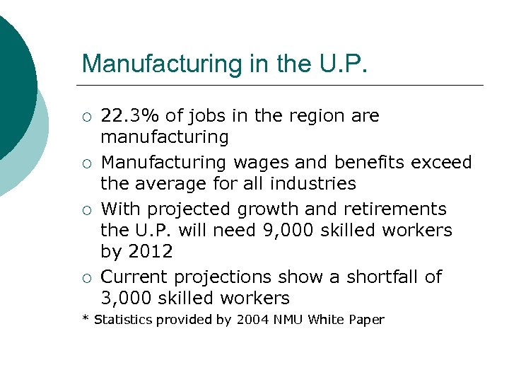 Manufacturing in the U. P. ¡ ¡ 22. 3% of jobs in the region