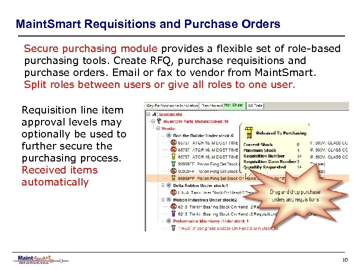 Maint. Smart Requisitions and Purchase Orders Secure purchasing module provides a flexible set of