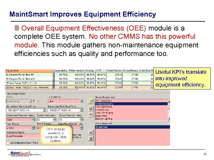 Maint. Smart Improves Equipment Efficiency 3 Overall Equipment Effectiveness (OEE) module is a complete