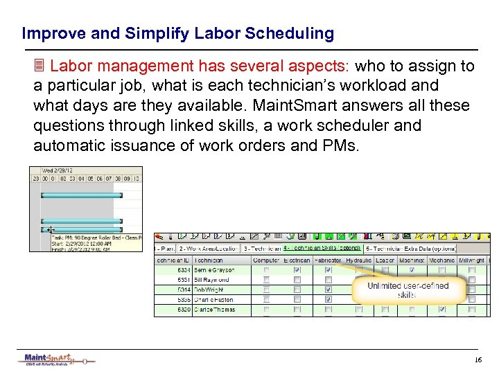 Improve and Simplify Labor Scheduling 3 Labor management has several aspects: who to assign