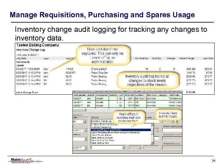 Manage Requisitions, Purchasing and Spares Usage Inventory change audit logging for tracking any changes