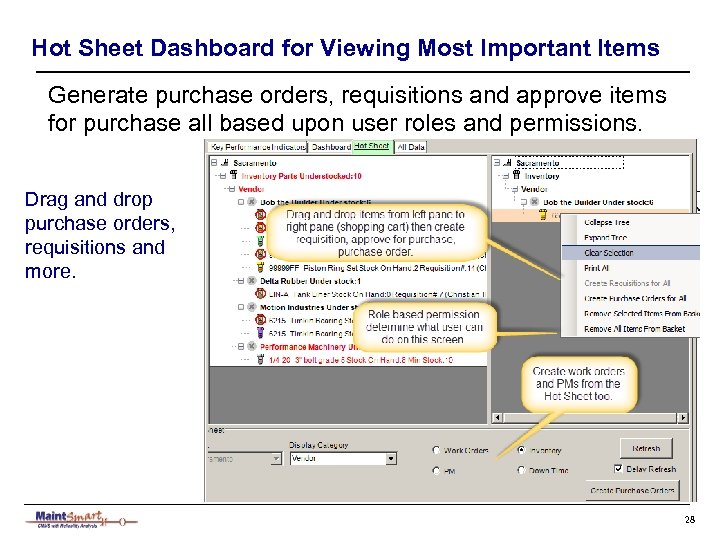 Hot Sheet Dashboard for Viewing Most Important Items Generate purchase orders, requisitions and approve