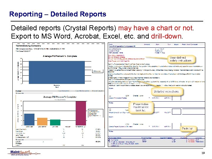 Reporting – Detailed Reports Detailed reports (Crystal Reports) may have a chart or not.
