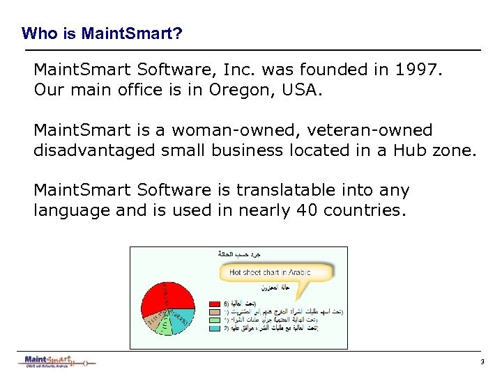 Who is Maint. Smart? Maint. Smart Software, Inc. was founded in 1997. Our main
