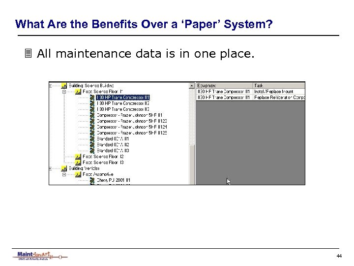 What Are the Benefits Over a 'Paper' System? 3 All maintenance data is in