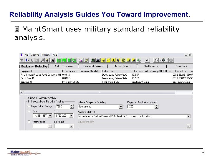Reliability Analysis Guides You Toward Improvement. 3 Maint. Smart uses military standard reliability analysis.