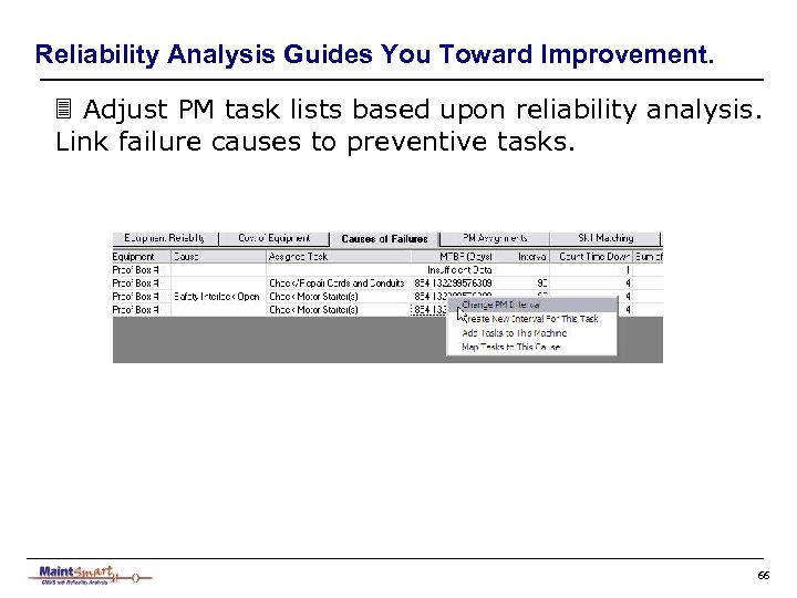 Reliability Analysis Guides You Toward Improvement. 3 Adjust PM task lists based upon reliability
