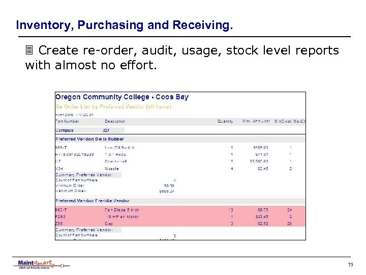 Inventory, Purchasing and Receiving. 3 Create re-order, audit, usage, stock level reports with almost