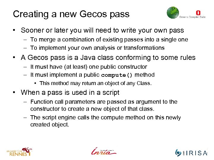 Creating a new Gecos pass • Sooner or later you will need to write