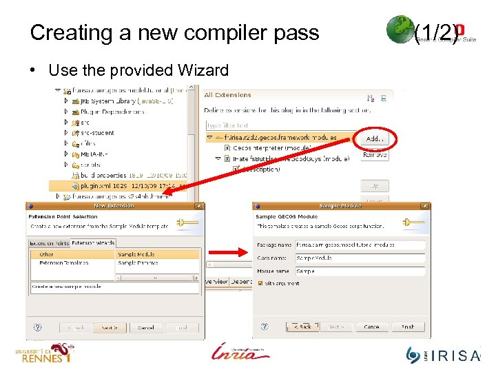 Creating a new compiler pass • Use the provided Wizard (1/2)