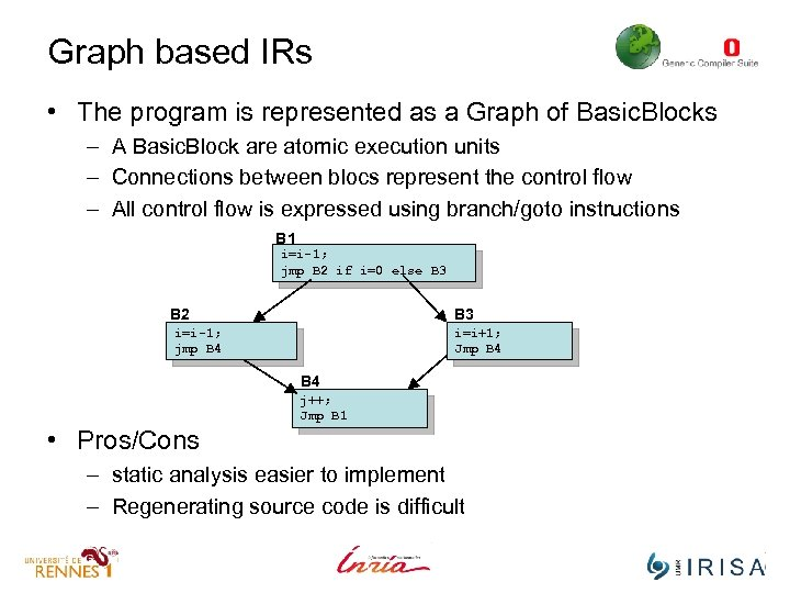 Graph based IRs • The program is represented as a Graph of Basic. Blocks
