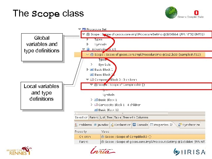 The Scope class Global variables and type definitions Local variables and type definitions