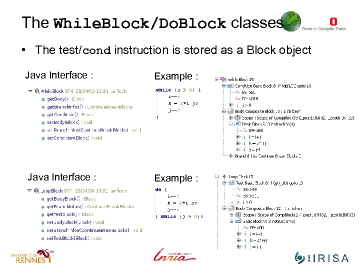The While. Block/Do. Block classes • The test/cond instruction is stored as a Block