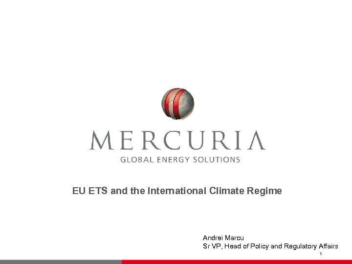 EU ETS and the International Climate Regime Andrei Marcu Sr VP, Head of Policy