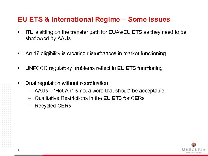 EU ETS & International Regime – Some Issues • ITL is sitting on the