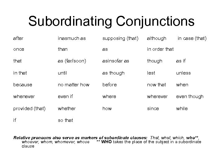 Subordinating Conjunctions after inasmuch as supposing (that) although in case (that) once that than