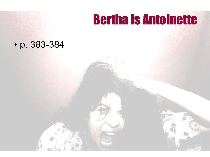 Bertha is Antoinette • p. 383 -384