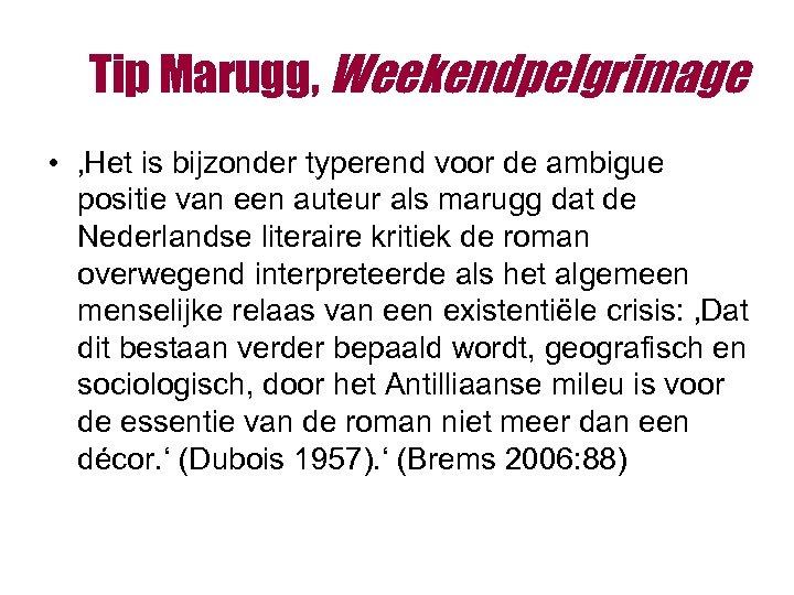 Tip Marugg, Weekendpelgrimage • 'Het is bijzonder typerend voor de ambigue positie van een