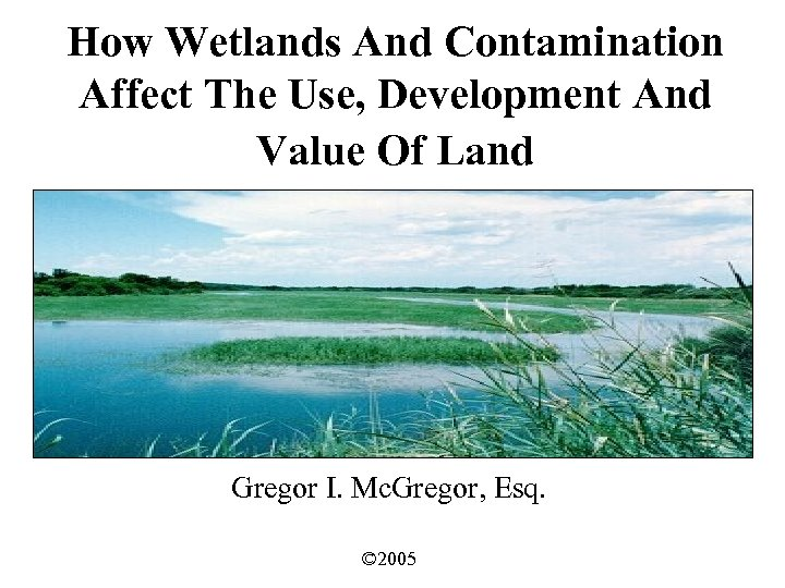 How Wetlands And Contamination Affect The Use, Development And Value Of Land Gregor I.