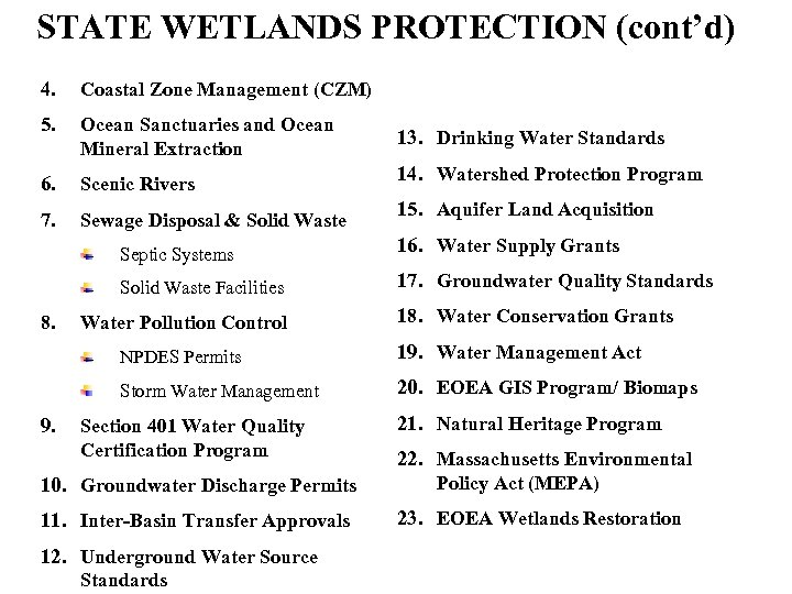 STATE WETLANDS PROTECTION (cont'd) 4. Coastal Zone Management (CZM) 5. Ocean Sanctuaries and Ocean