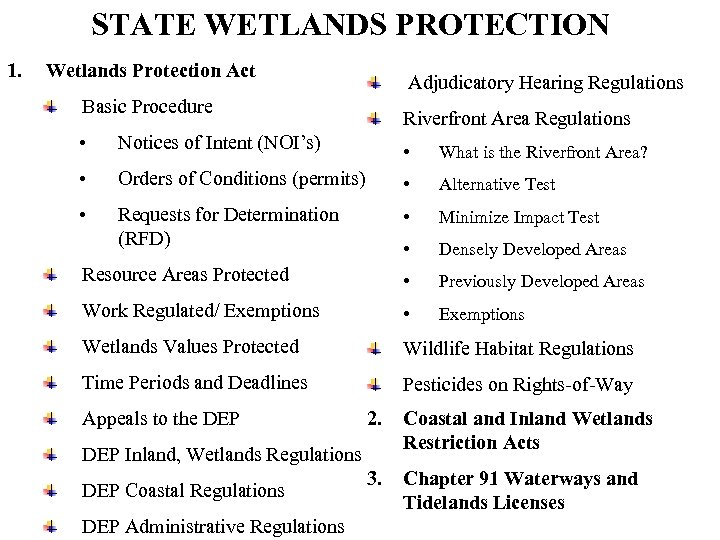 STATE WETLANDS PROTECTION 1. Wetlands Protection Act Adjudicatory Hearing Regulations Basic Procedure Riverfront Area