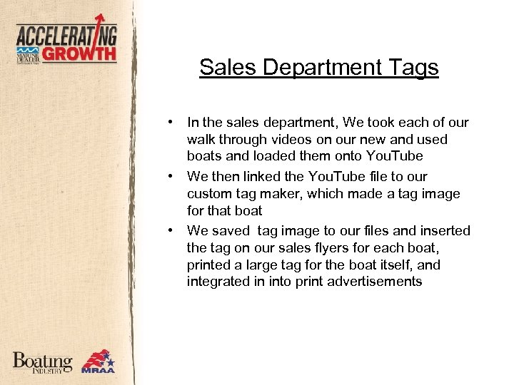 Sales Department Tags • • • In the sales department, We took each of