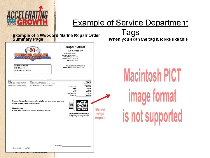 Example of Service Department Tags Example of a Woodard Marine Repair Order Summary Page