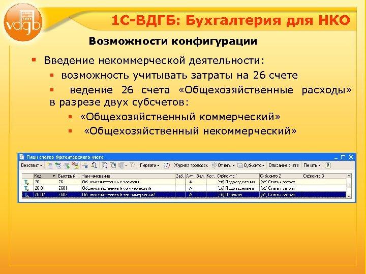 1 С-ВДГБ: Бухгалтерия для НКО Возможности конфигурации § Введение некоммерческой деятельности: § возможность учитывать