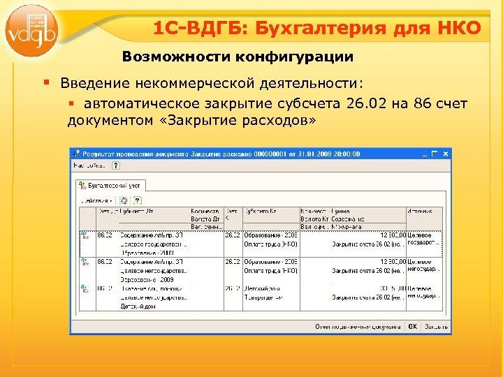 1 С-ВДГБ: Бухгалтерия для НКО Возможности конфигурации § Введение некоммерческой деятельности: § автоматическое закрытие