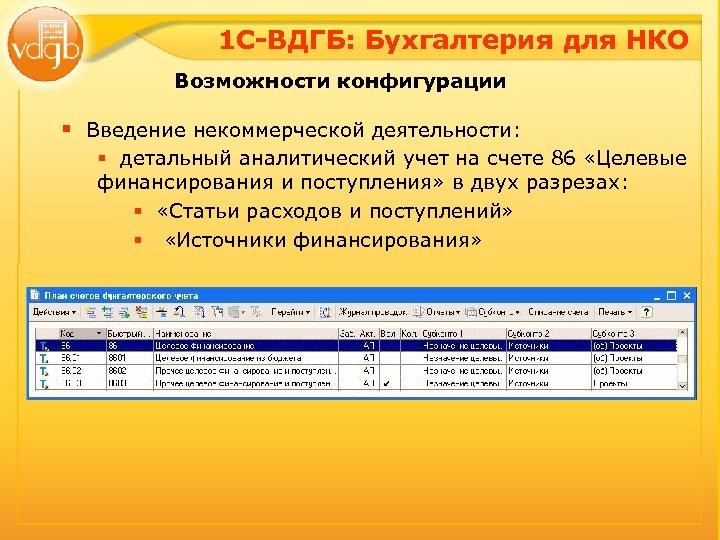 1 С-ВДГБ: Бухгалтерия для НКО Возможности конфигурации § Введение некоммерческой деятельности: § детальный аналитический