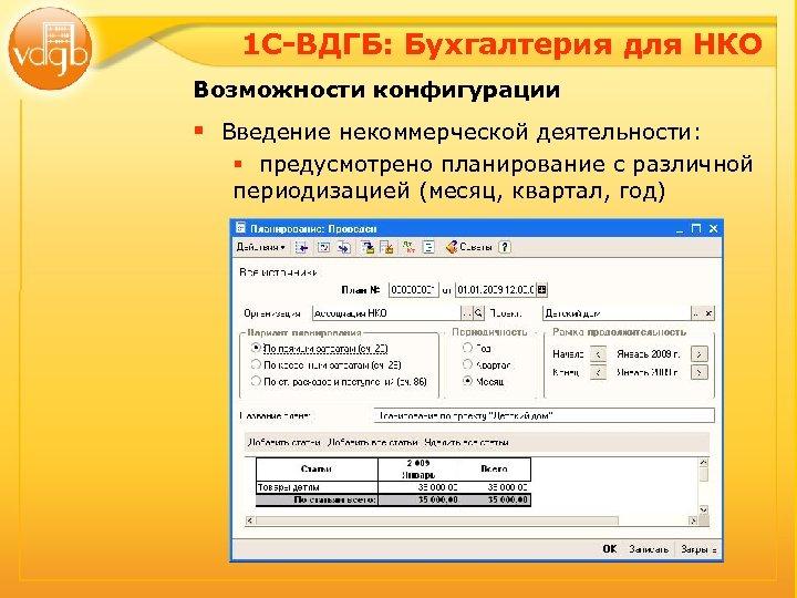 1 С-ВДГБ: Бухгалтерия для НКО Возможности конфигурации § Введение некоммерческой деятельности: § предусмотрено планирование