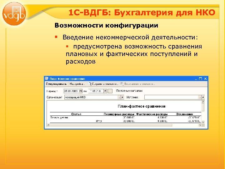 1 С-ВДГБ: Бухгалтерия для НКО Возможности конфигурации § Введение некоммерческой деятельности: § предусмотрена возможность
