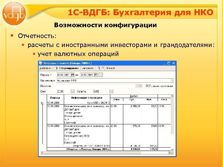 1 С-ВДГБ: Бухгалтерия для НКО Возможности конфигурации § Отчетность: § расчеты с иностранными инвесторами