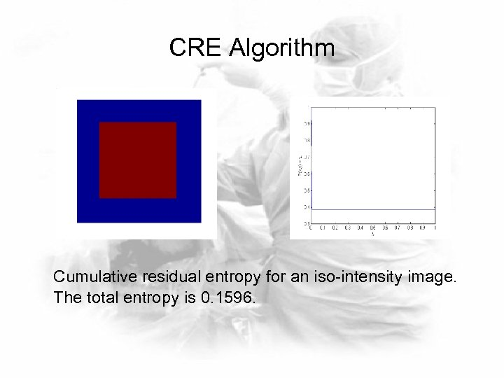 CRE Algorithm Cumulative residual entropy for an iso-intensity image. The total entropy is 0.