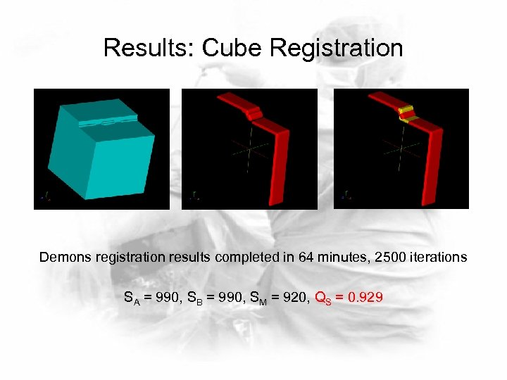 Results: Cube Registration Demons registration results completed in 64 minutes, 2500 iterations SA =