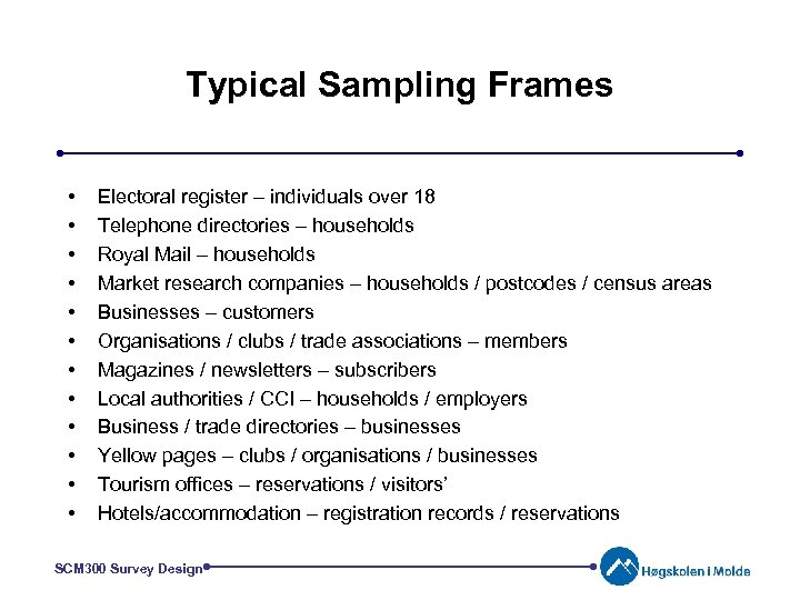 Typical Sampling Frames • • • Electoral register – individuals over 18 Telephone directories