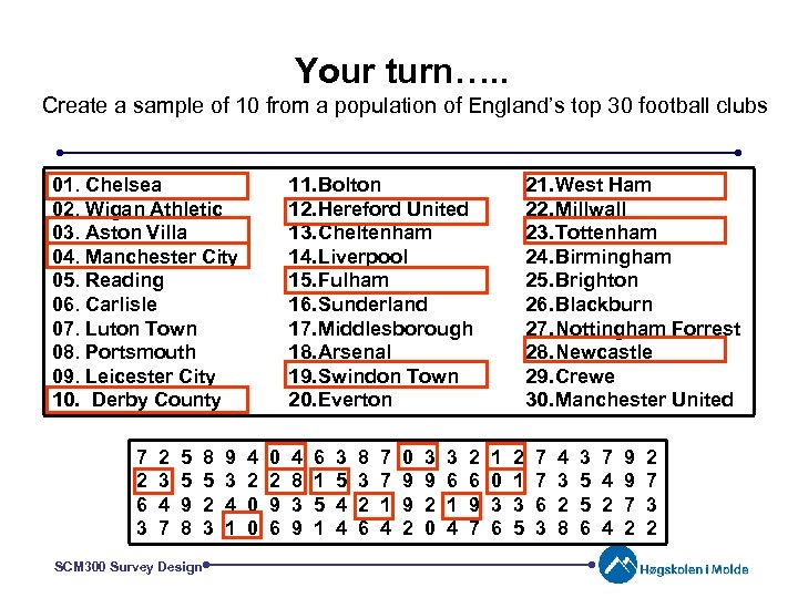 Your turn…. . Create a sample of 10 from a population of England's top