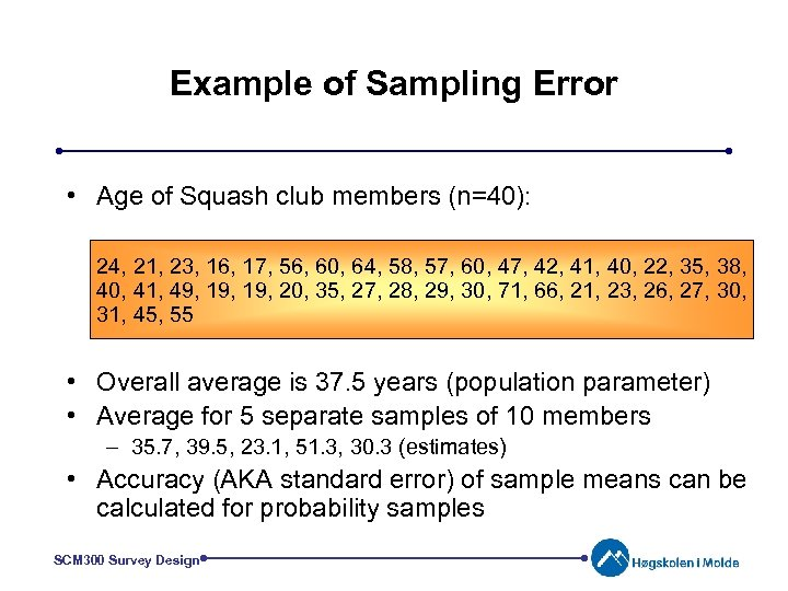 Example of Sampling Error • Age of Squash club members (n=40): 24, 21, 23,