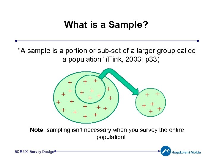 "What is a Sample? ""A sample is a portion or sub-set of a larger"