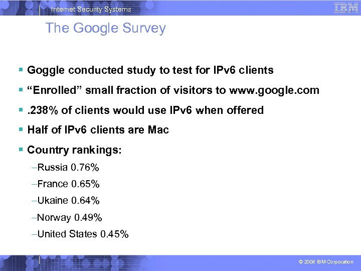 Internet Security Systems The Google Survey Goggle conducted study to test for IPv 6