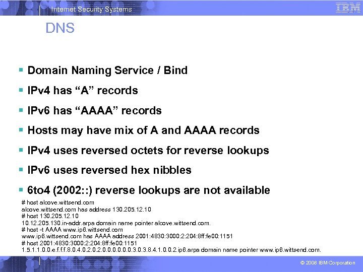 "Internet Security Systems DNS Domain Naming Service / Bind IPv 4 has ""A"" records"