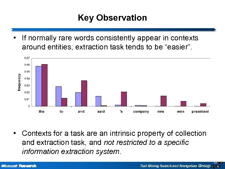 Key Observation • If normally rare words consistently appear in contexts around entities, extraction