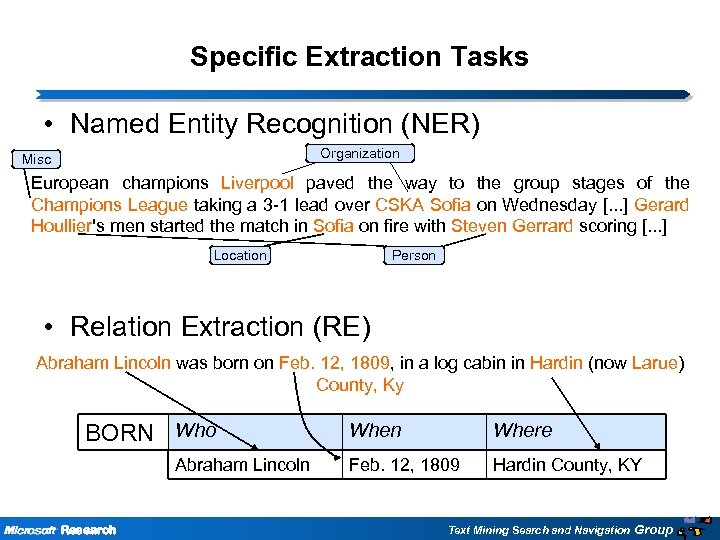 Specific Extraction Tasks • Named Entity Recognition (NER) Misc Organization European champions Liverpool paved