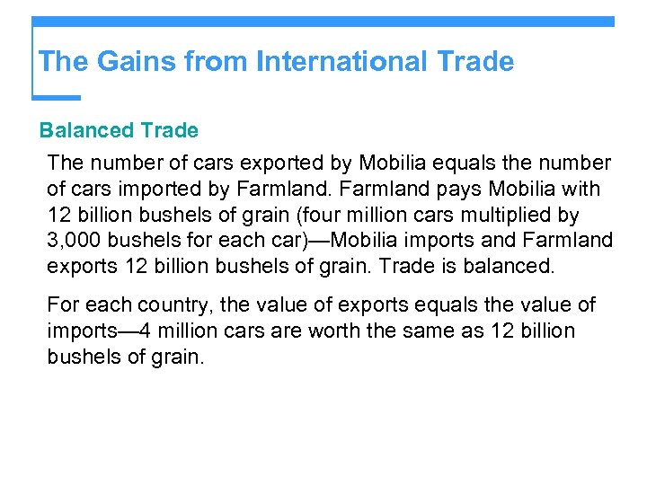 The Gains from International Trade Balanced Trade The number of cars exported by Mobilia