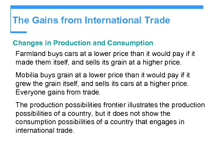 The Gains from International Trade Changes in Production and Consumption Farmland buys cars at